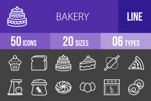 50 Bakery Line Inverted Icons - Overview - IconBunny