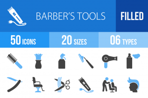 50 Barber's Tools Blue Black Icons - Overview - IconBunny