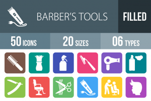 50 Barber's Tools Flat Round Corner Icons - Overview - IconBunny