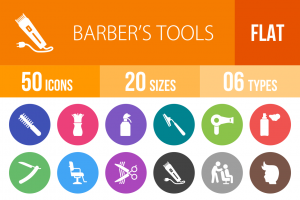 50 Barber's Tools Flat Round Icons - Overview - IconBunny