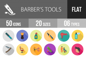 50 Barber's Tools Flat Shadowed Icons - Overview - IconBunny