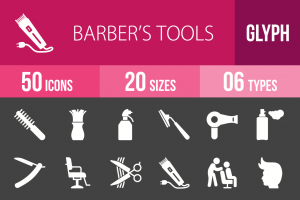 50 Barber's Tools Glyph Inverted Icons - Overview - IconBunny