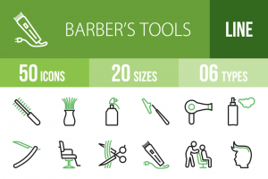 50 Barber's Tools Line Green Black Icons - Overview - IconBunny