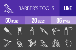 50 Barber's Tools Line Inverted Icons - Overview - IconBunny