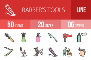 50 Barber's Tools Line Multicolor Filled Icons - Overview - IconBunny