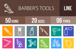 50 Barber's Tools Line Multicolor B/G Icons - Overview - IconBunny