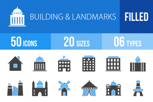 50 Buildings & Landmarks Blue & Black Icons - Overview - IconBunny