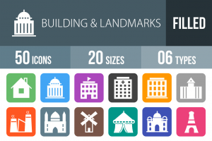 50 Buildings & Landmarks Flat Round Corner Icons - Overview - IconBunny