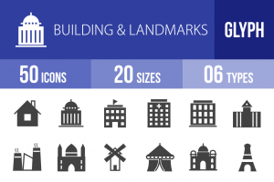 50 Buildings & Landmarks Glyph Icons - Overview - IconBunny