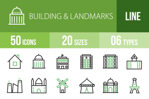 50 Buildings & Landmarks Line Green & Black Icons - Overview - IconBunny