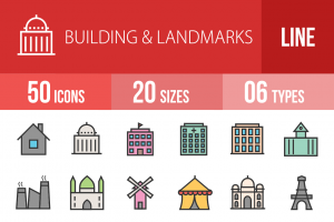 50 Buildings & Landmarks Line Multicolor Filled Icons - Overview - IconBunny