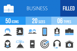 50 Business Blue & Black Icons - Overview - IconBunny