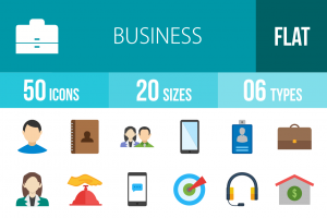 50 Business Flat Multicolor Icons - Overview - IconBunny