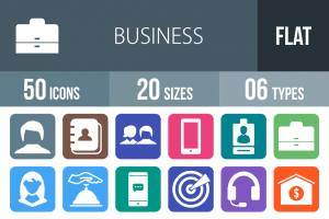 50 Business Flat Round Corner Icons - Overview - IconBunny