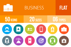 50 Business Flat Round Icons - Overview - IconBunny
