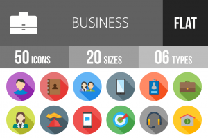 50 Business Flat Shadowed Icons - Overview - IconBunny