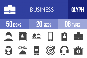 50 Business Glyph Icons - Overview - IconBunny