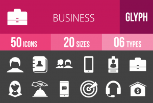 50 Business Glyph Inverted Icons - Overview - IconBunny