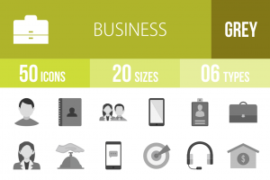 50 Business Greyscale Icons - Overview - IconBunny