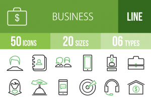 50 Business Line Green & Black Icons - Overview - IconBunny