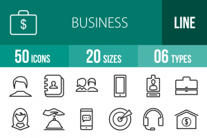 50 Business Line Icons - Overview - IconBunny