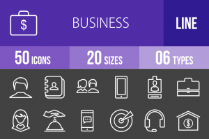 50 Business Line Inverted Icons - Overview - IconBunny
