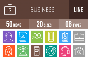 50 Business Line Multicolor B/G Icons - Overview - IconBunny