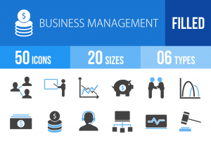 50 Business Management Blue Black Icons - Overview - IconBunny