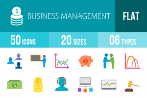 50 Business Management Flat Multicolor Icons - Overview - IconBunny