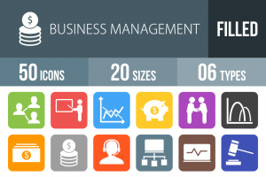 50 Business Management Flat Round Corner Icons - Overview - IconBunny