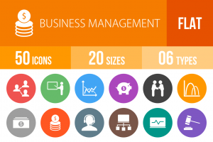 50 Business Management Flat Round Icons - Overview - IconBunny