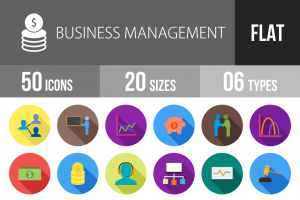 50 Business Management Flat Shadowed Icons - Overview - IconBunny