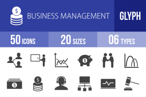 50 Business Management Glyph Icons - Overview - IconBunny