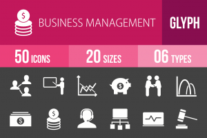 50 Business Management Glyph Inverted Icons - Overview - IconBunny