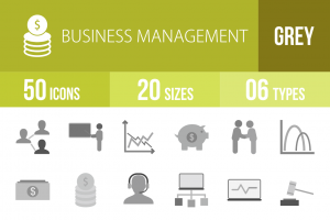 50 Business Management Greyscale Icons - Overview - IconBunny