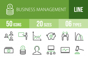 50 Business Management Line Green Black Icons - Overview - IconBunny