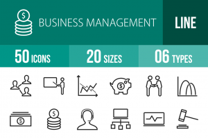 50 Business Management Line Icons - Overview - IconBunny