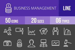 50 Business Management Line Inverted Icons - Overview - IconBunny