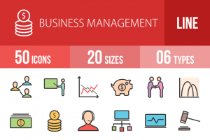 50 Business Management Line Multicolor Filled Icons - Overview - IconBunny