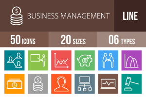 50 Business Management Line Multicolor B/G Icons - Overview - IconBunny