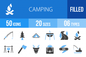 50 Camping Blue & Black Icons - Overview - IconBunny