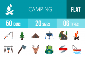 50 Camping Flat Multicolor Icons - Overview - IconBunny