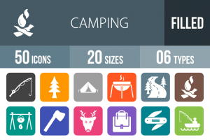 50 Camping Flat Round Corner Icons - Overview - IconBunny
