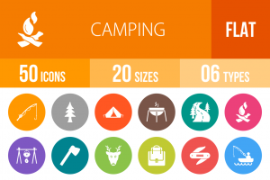 50 Camping Flat Round Icons - Overview - IconBunny