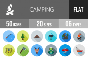 50 Camping Flat Shadowed Icons - Overview - IconBunny