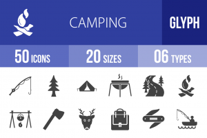 50 Camping Glyph Icons - Overview - IconBunny