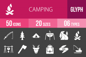50 Camping Glyph Inverted Icons - Overview - IconBunny