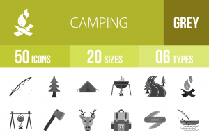 50 Camping Greyscale Icons - Overview - IconBunny