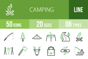 50 Camping Line Green & Black Icons - Overview - IconBunny