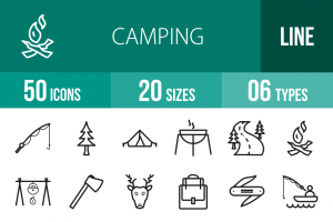 50 Camping Line Icons - Overview - IconBunny